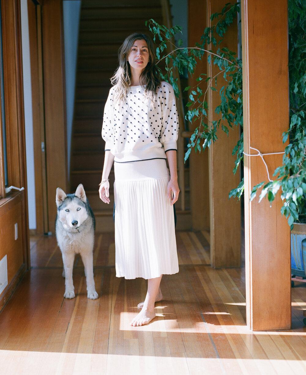 Jana with her Siberian Husky Vuka wears the  Kit Sweater   SHOP HERE  and  Sian Color Block Skirt   SHOP HERE