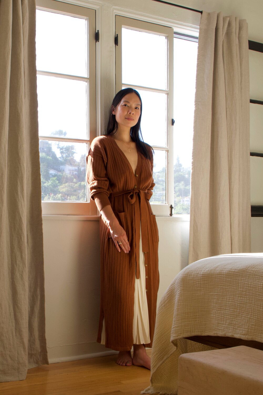 Jen wears the  MARIA Cardi-dress  in tobacco |  SHOP HERE