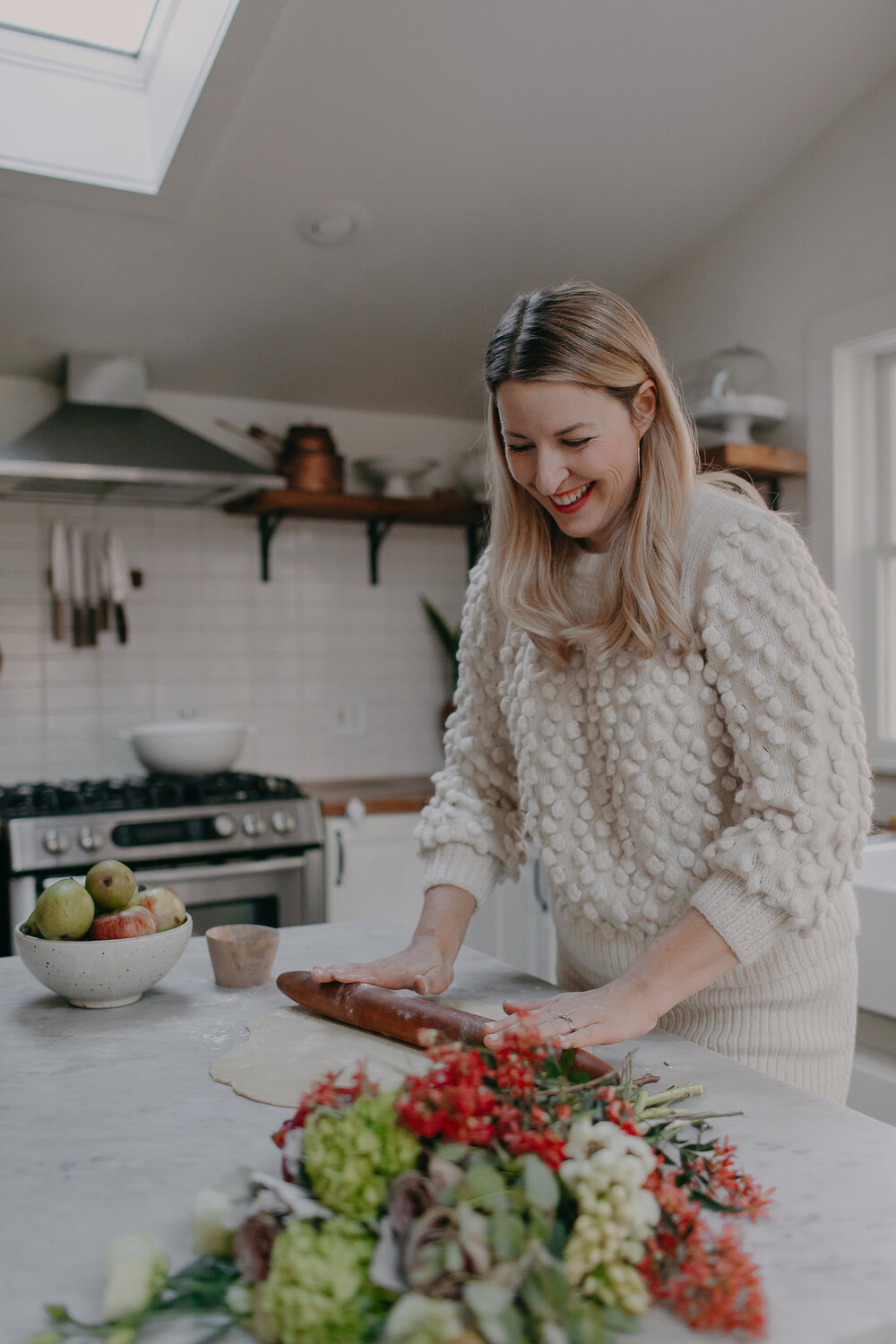 Meet Sarah Copeland:  Mama of two + founder of   Edible Living  : an award-winning writer, tastemaker and curator of good living. See Sarah's third book  EVERY DAY IS SATURDAY  |  SEE FULL FEATURE    Sarah wears Camilla hand-knit from FW18 - Charlotte sweater is a her sister style      SHOP HERE     Photo by:  @delainedacko