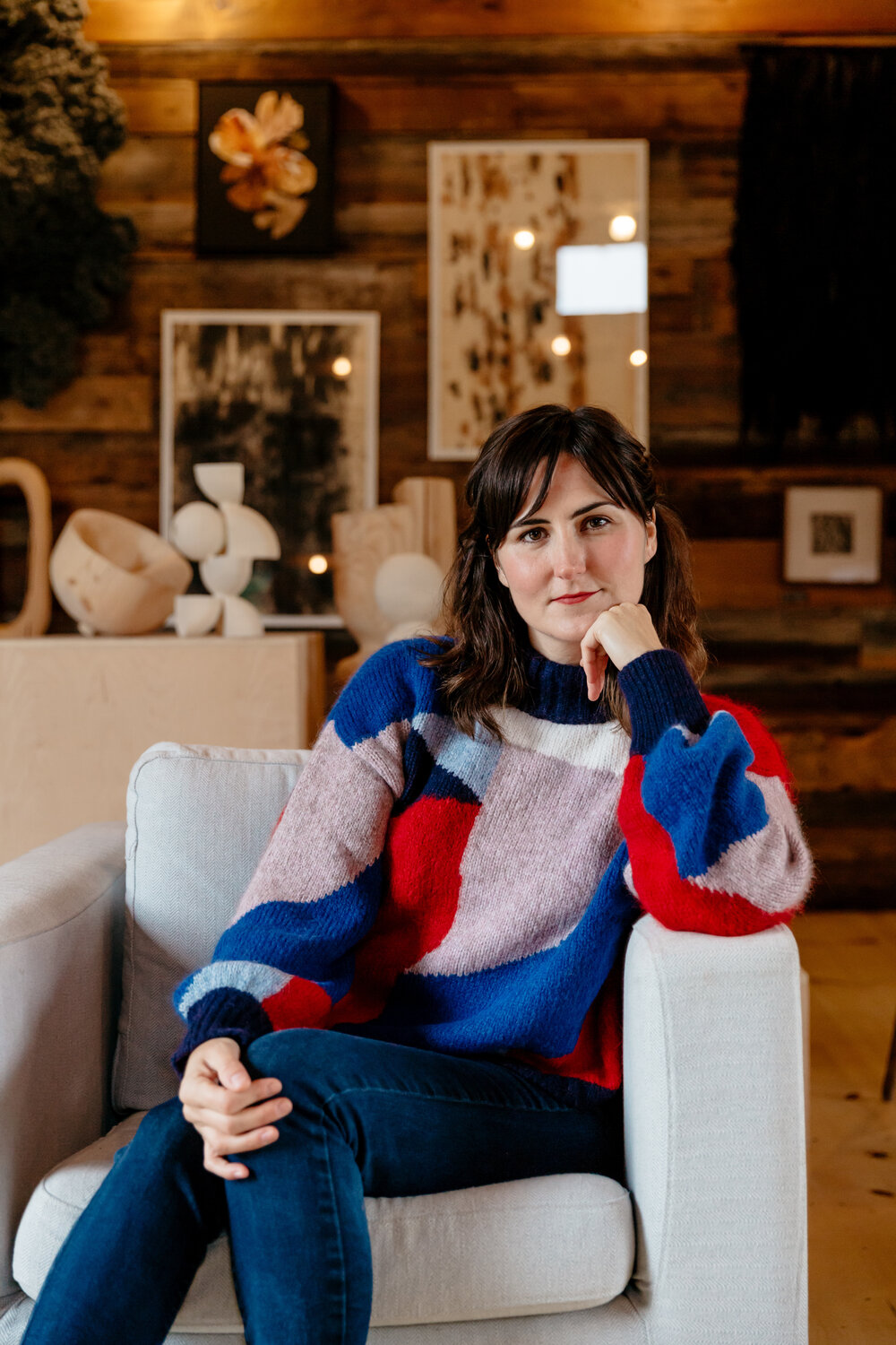 """Meet    Dana McClure   : Mama of two and co-founder of  Ra  venwood  : a converted Upstate barn-space…where farming, food and design meet in the most perfectly, serene way!  SEE FULL FEATURE    Dana wears Fall 19      CAROLINE Sweater     : a design collaboration with Swiss-artist      Caroline Denervaud     Photo by:  @delainedacko      """"This extended time at home with my family is both rewarding and let's just say... intense. There's no escape from the kids and everyone's overflowing emotions! Some days are pure magic though – being more fully present for the moments that would have previously been overlooked due to the constant hustle of our lives. Underlining each day, along with fear of the unknown, is a deep gratitude for our health and for each other. Reflecting on the idea of ' mothering', I feel a deep desire to better mother myself and help nurture and give back to the world around me.""""    Dana McClure - Co-founder of     @ravenwoodny      + artist: Dana McClure"""