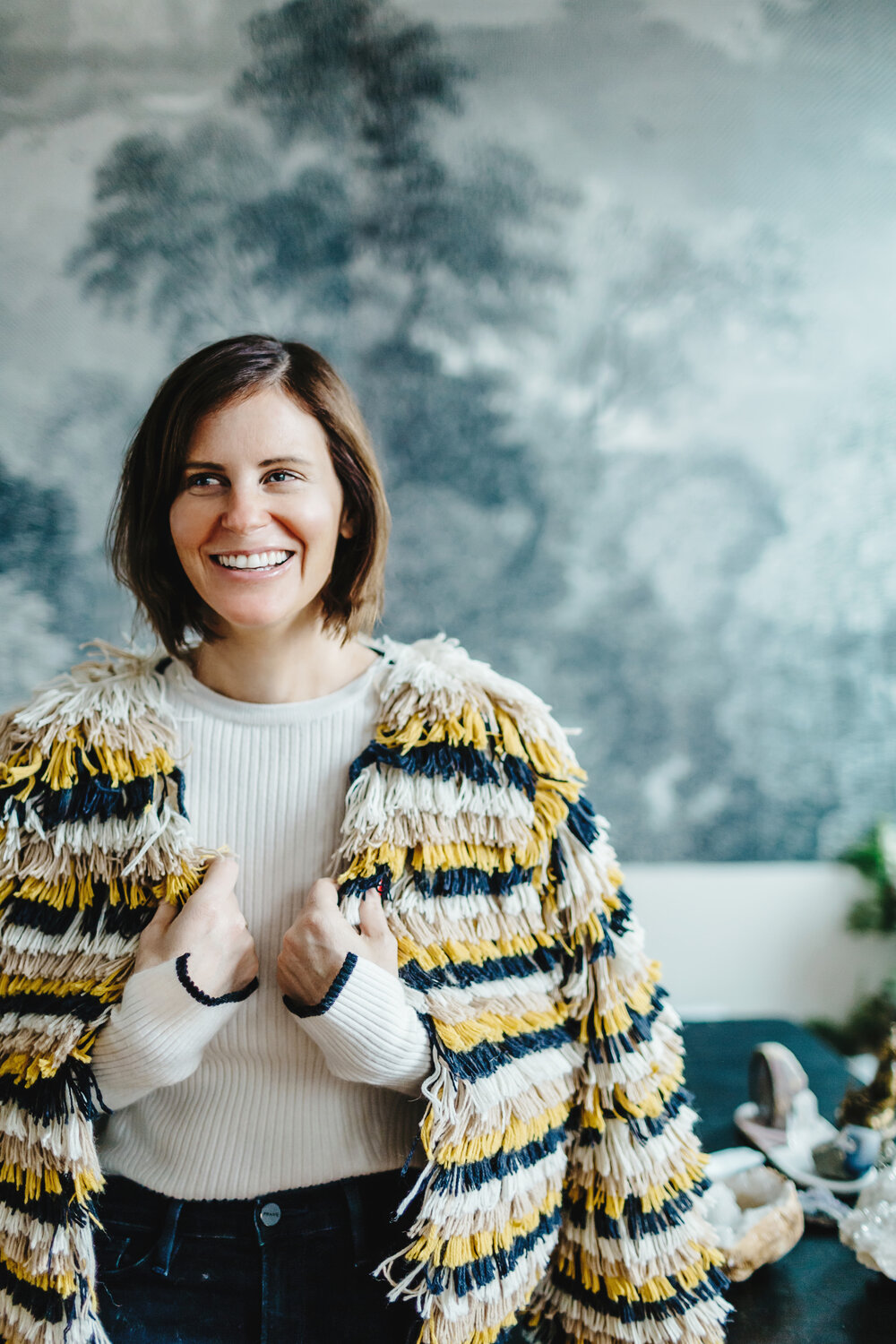 Meet Courtney Somer:  Mama of two girls + founder of  Lake & Skye  : a modern and conscious fragrance and aromatherapy brand.  SEE FULL FEATURE    Courtney wears      Jenna jacket      - made by Bolivian artisans    Photo by:  @delainedacko