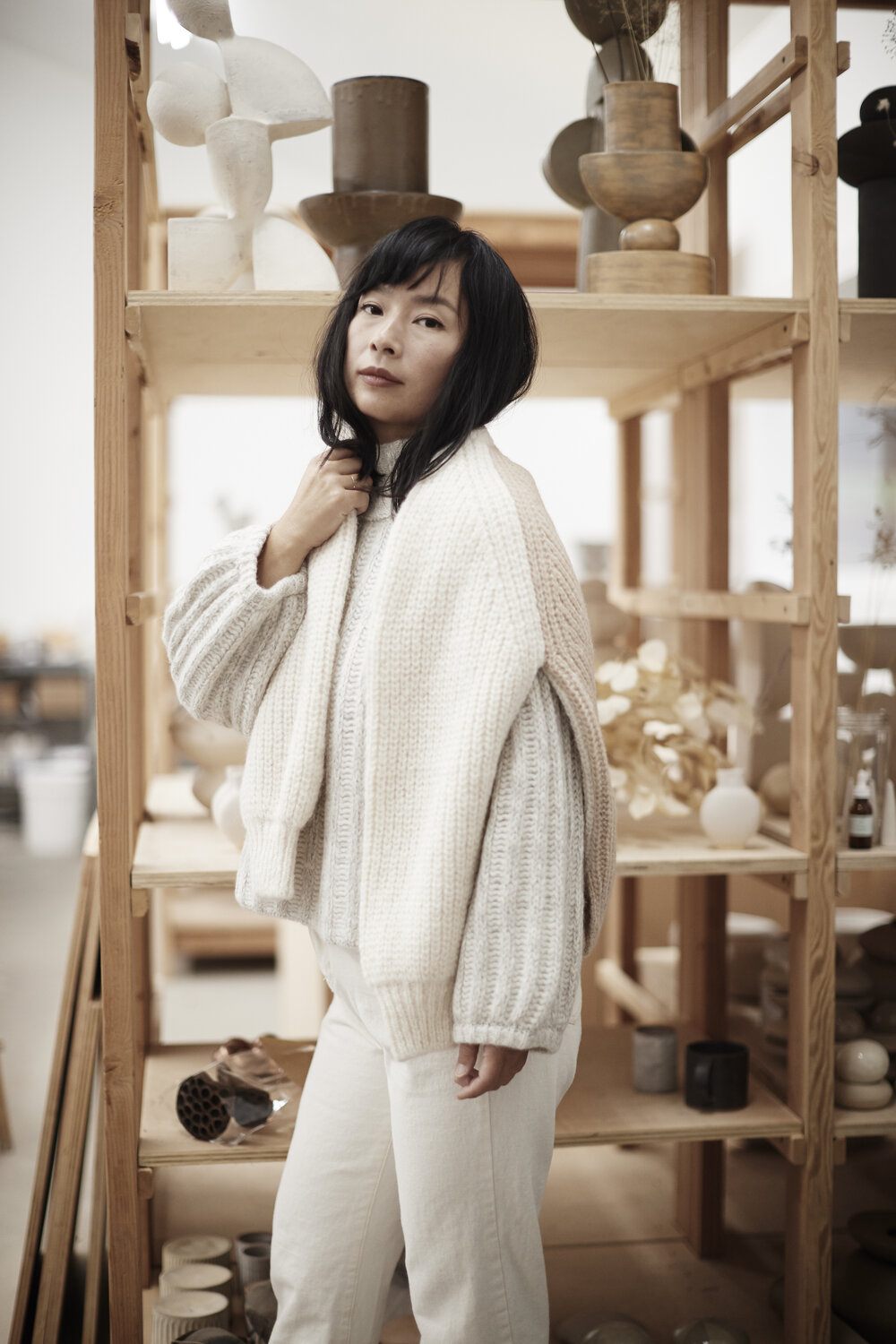 Meet Re Jin Lee (RJ):  Mama of three boys + the founder of  BDB NY : a New York based design studio offering both functional and sculptural ceramics made by hand.  SEE FULL FEATURE.. .   RJ wears      MAGGIE Sweater      +      TESS Sweater      layered     Photo by  @ballyscallon