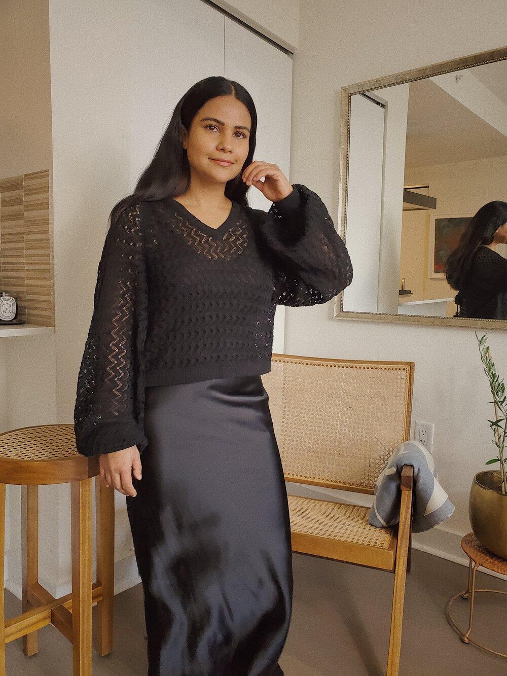 The TARA Sweater    SHOP HERE  + Shalini's own slip-dress