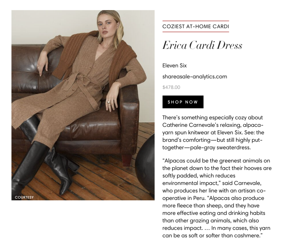 Our ERICA Cardi-Dress and CARLA Cardi in Harper's BazaarSEE FULL FEATURE