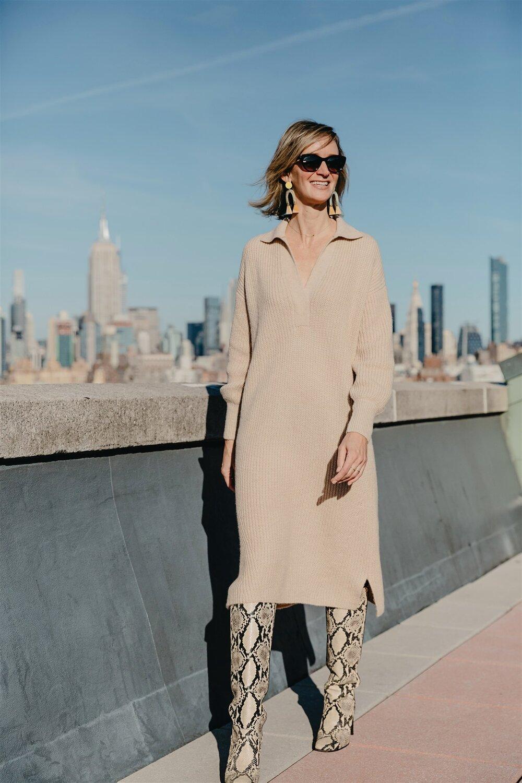 Alison wears:  JADA Dress  in Pale Camel ( SHOP HERE )