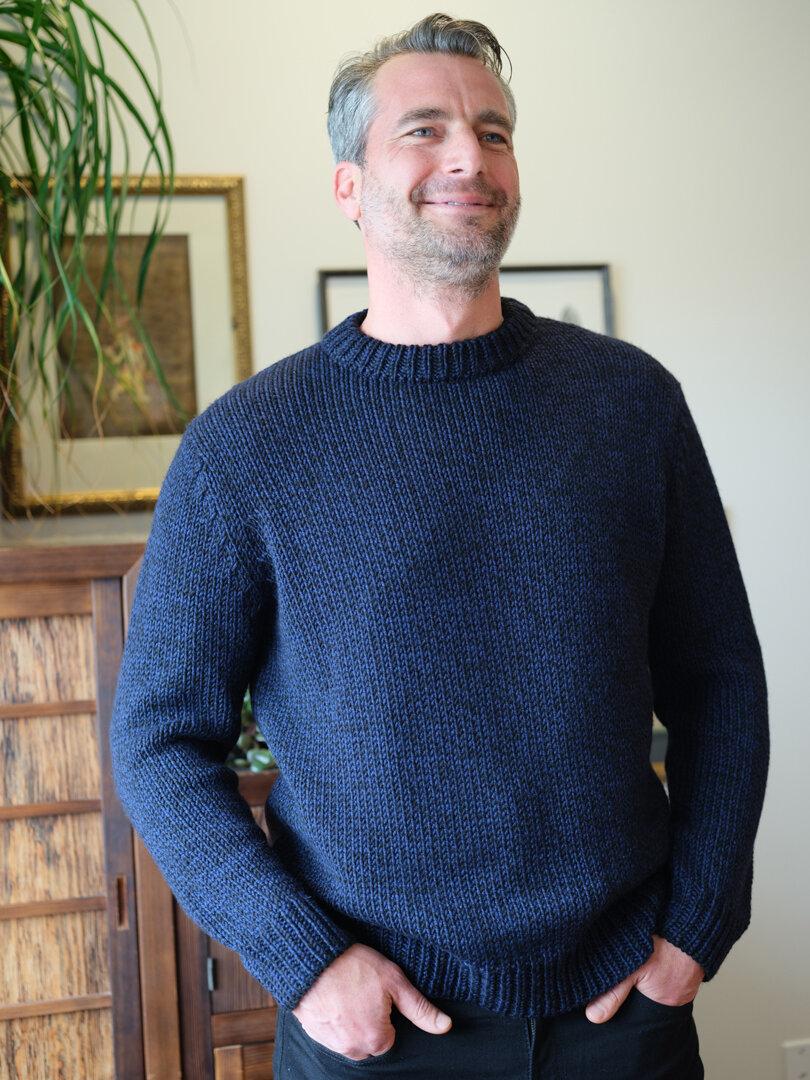 Sean wears the first ELEVEN SIX Men's sweater: NiCK Sweater in Navy/Black tweed  (SHOP HERE)