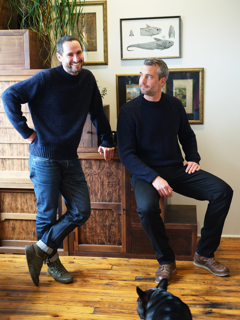 ELEVEN SIX Co-founder: Nick Carnevale with Sean...twinning in the NICK Sweater!