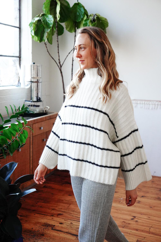Alexis wears:  TALIA Poncho  in Stripe |  SHOP HERE