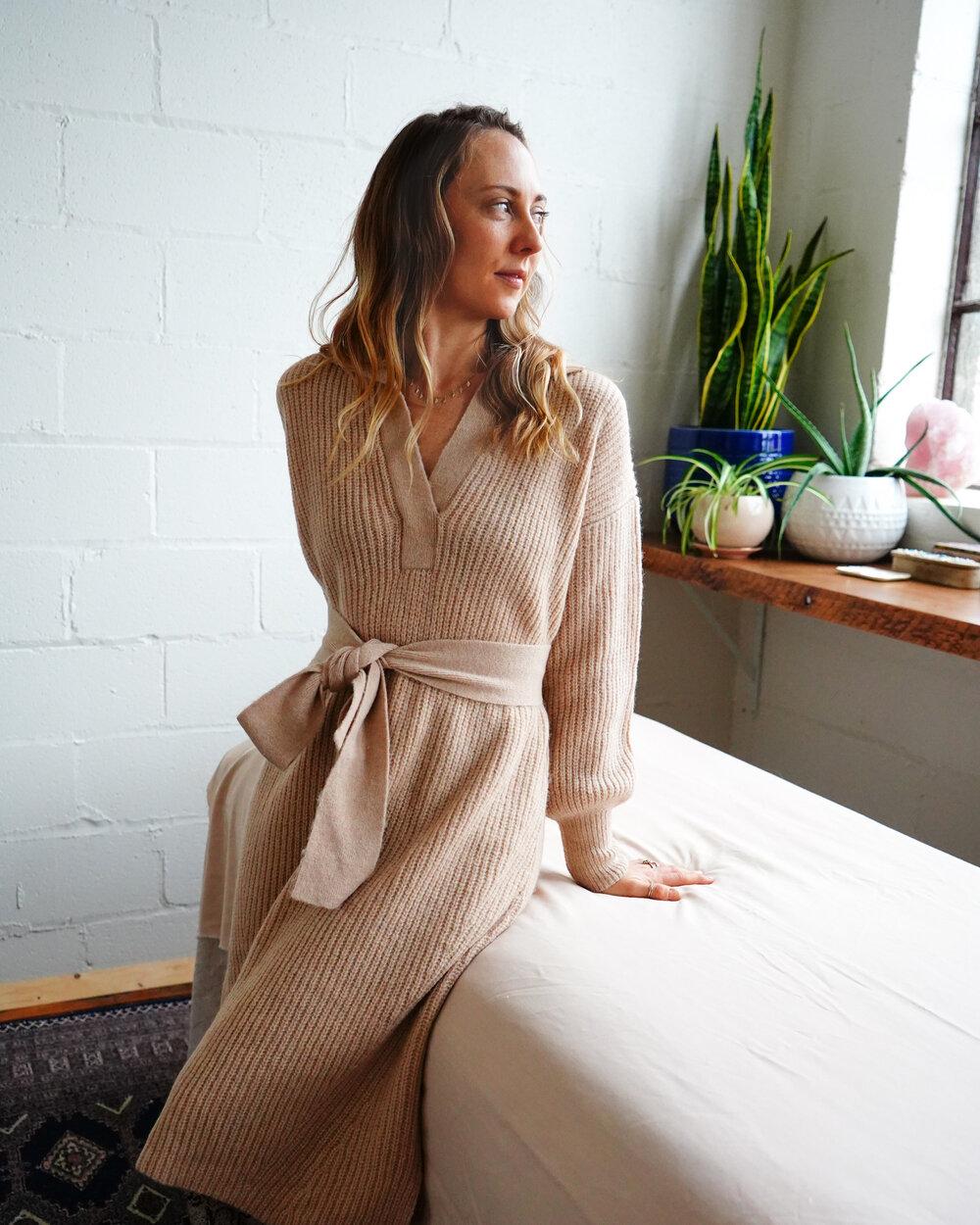 Alexis wears:  JADA Sweater Dress  in Pale Camel |   SHOP HERE