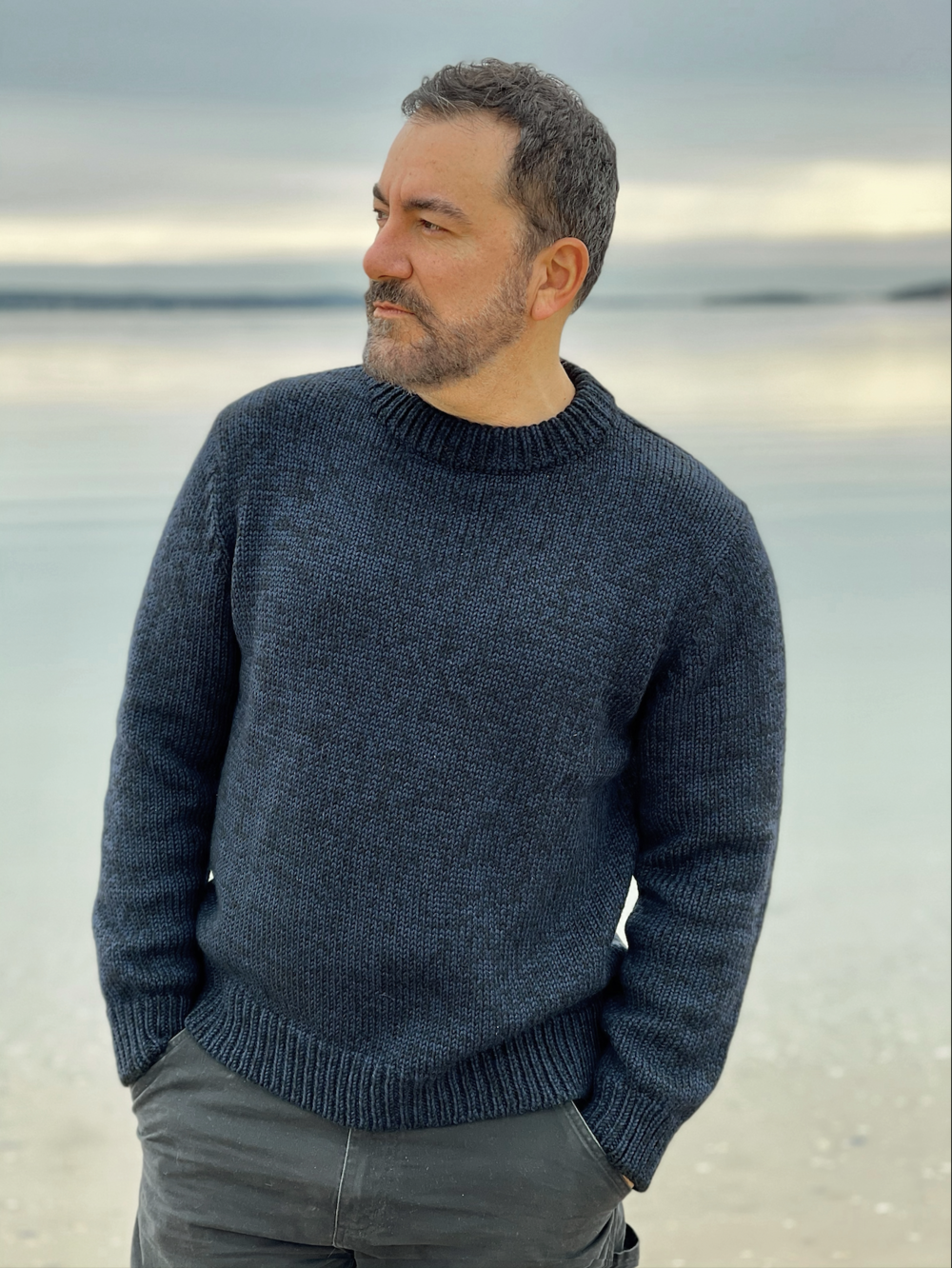 Michael wears  the NICK Sweater  in Navy/black tweed  (SHOP HERE)     Also available in Graphite Tweed  (SHOP HERE)