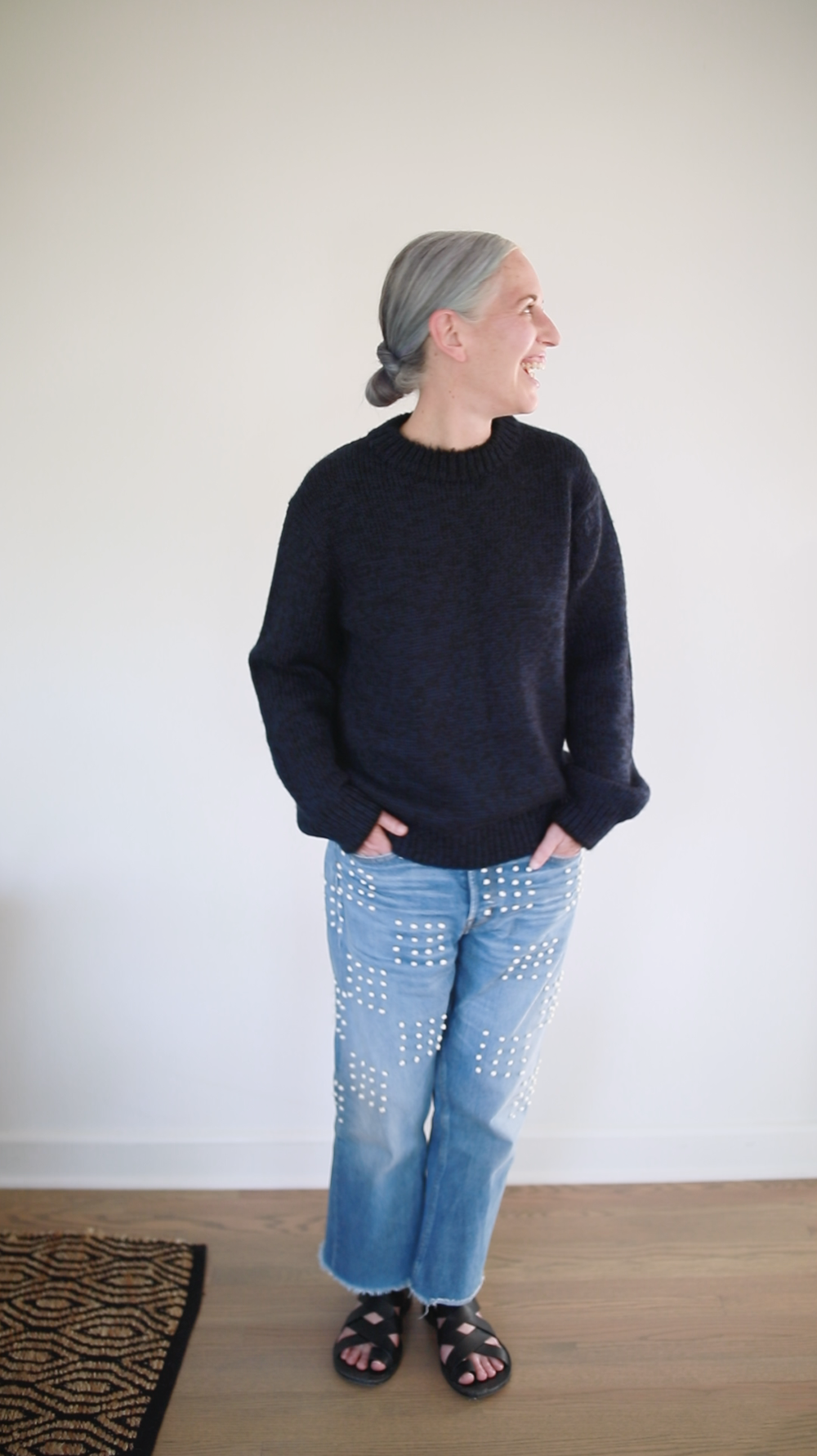 Molly wears the Men's  NICK Sweater  in Navy Tweed with own jean |  SHOP HERE