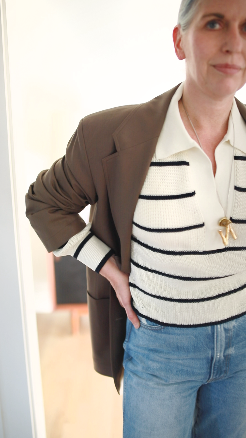 Molly wears the  ARIA Polo Sweater  in Stripe with own jean + blazer |  SHOP HERE