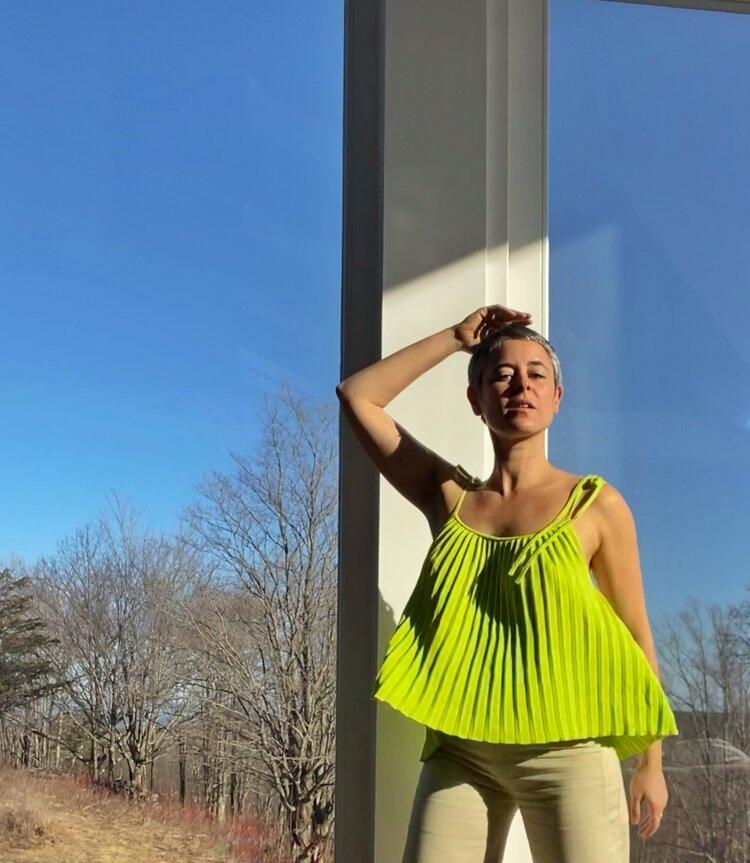 Zaria wears the   VALERIA Cami   in Neon Lime