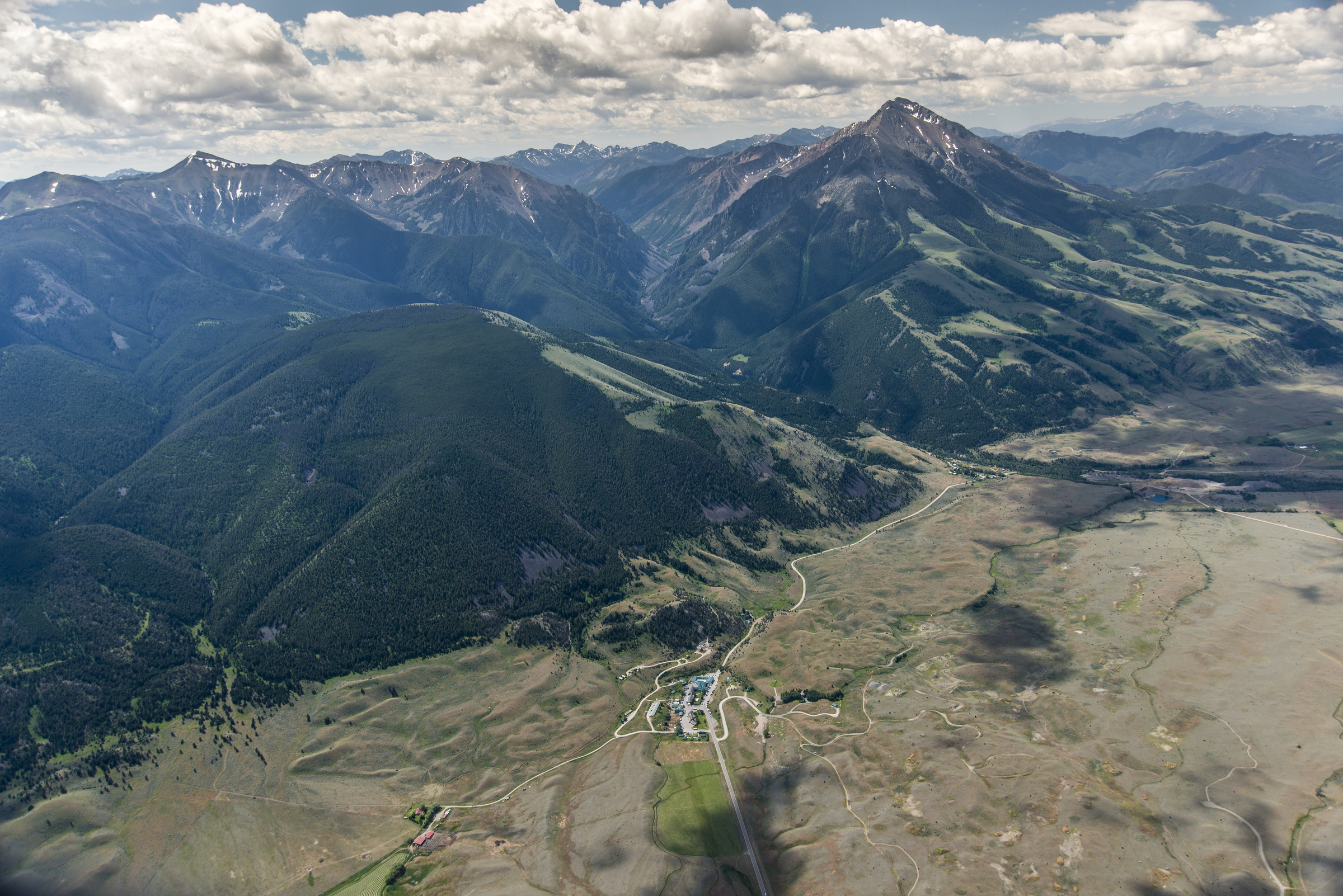 A Canadian mining company is proposing to explore for gold in Emigrant Gulch (the narrow valley to the left of Emigrant Peak - the pointy mountain to the right). Business owners in Montana's Paradise Valley are banding together to demand a timeout on risky gold mines. (Photo William Campbell.)