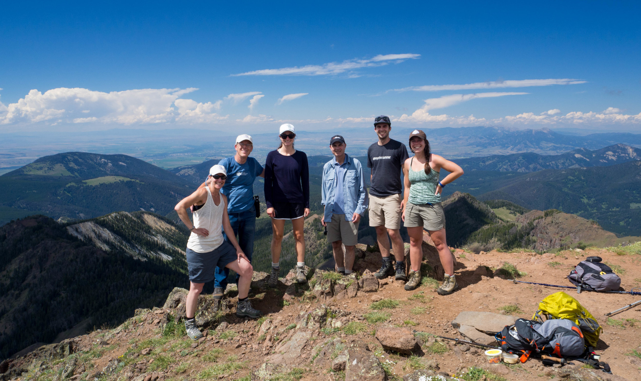 Darcie Warden, left, at the summit of Mt. Blackmore with the group of hikers. (Photo GYC.)