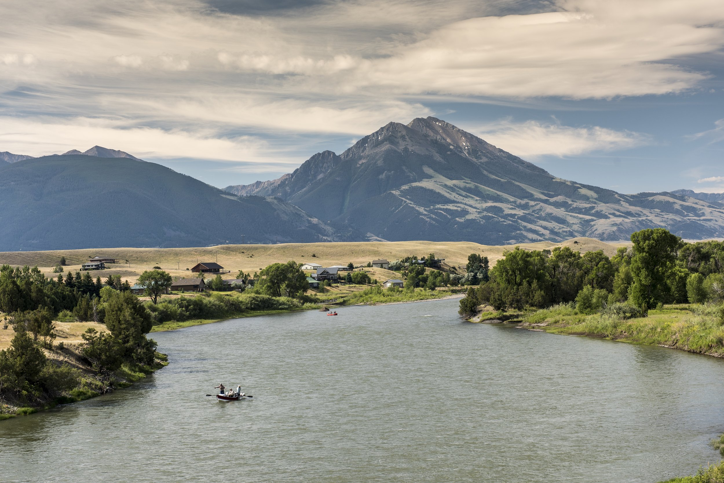 Anglers on the Yellowstone River. Sen. Tester's bill to keep risky mines out of the Emigrant mining district (in the mountains in the background) is getting a hearing in a Senate subcommittee Wednesday. (Photo Bill Campbell.)