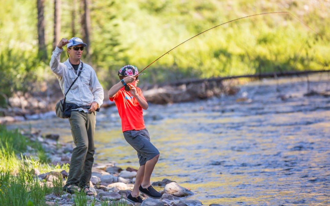 Learning to fish on the Gallatin River. (Photo courtesy Dave Pecunies Media.)