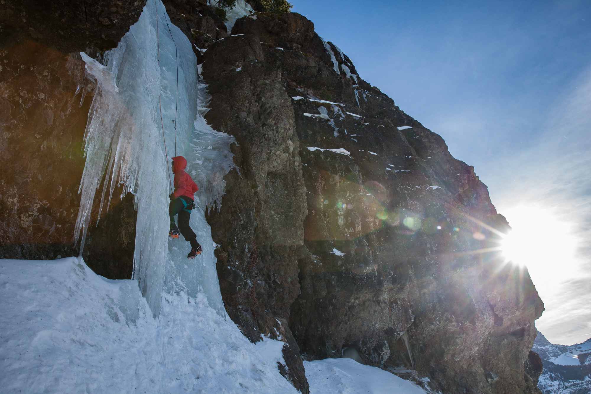 Ice climbing in Hyalite, in Montana's Custer Gallatin National Forest. (Photo Louise Johns.)