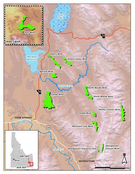 Phosphate mines in southeast Idaho. Ag giant Agrium is investing more than $1 million to mitigate the impacts of an expanded mine here. (Map courtesy Idaho Department of Environmental Quality.)