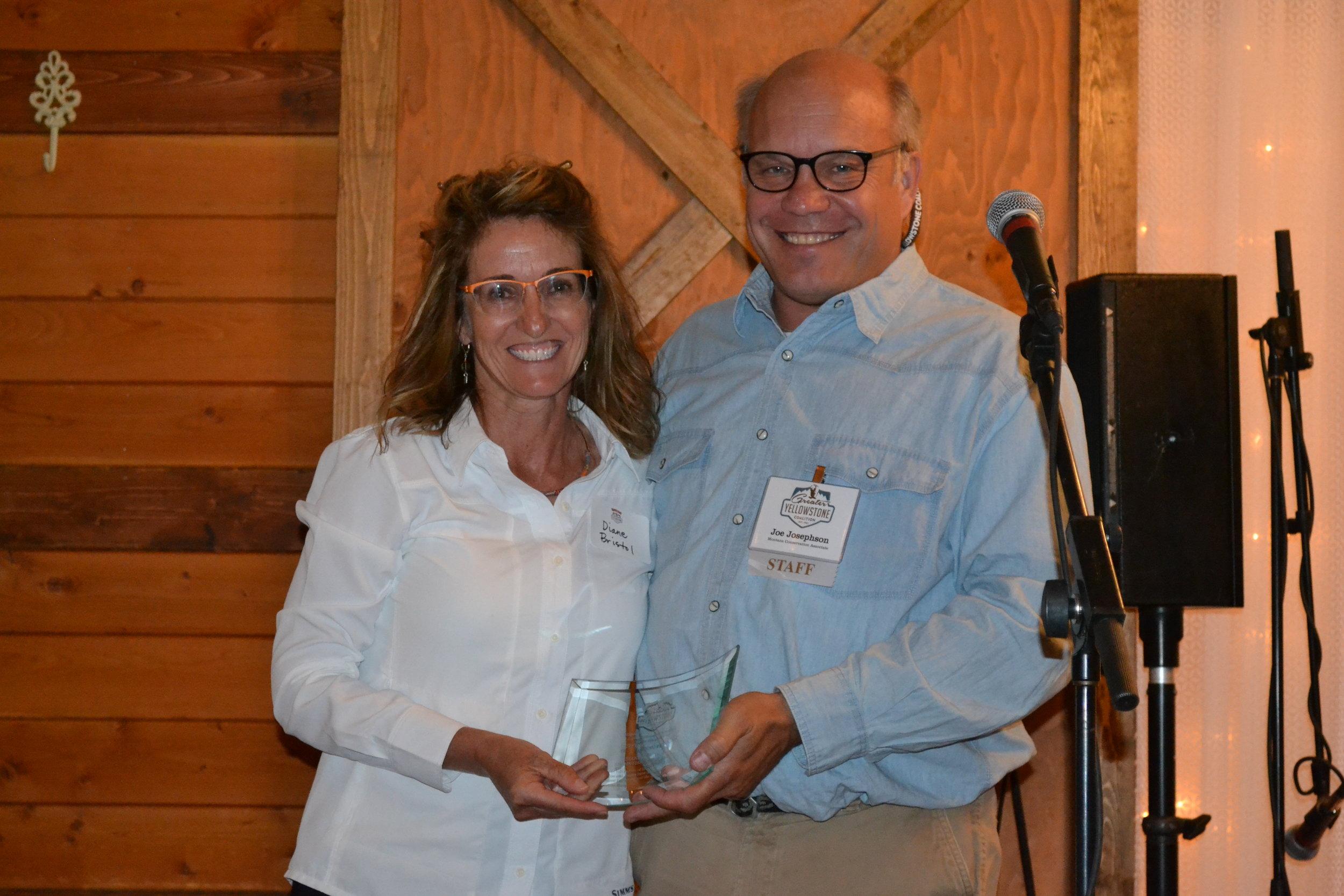 Joe Josephson of GYC presents Diane Bristol with the Outstanding Member Organization or Business Award. (Photo courtesy GYC.)