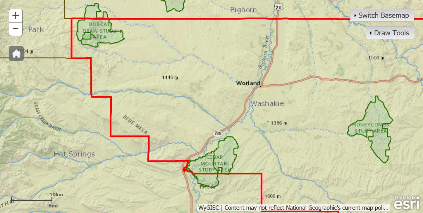 The three WSAs we'd like to see protected are in green on this map section east of Yellowstone National Park.