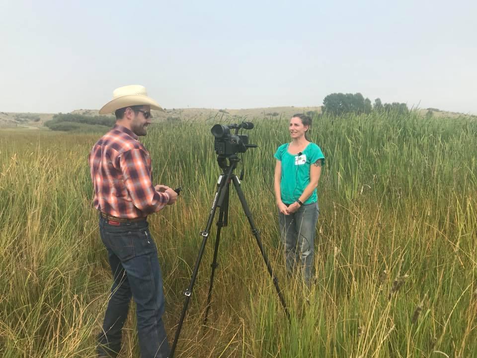 GYC Montana Conservation Coordinator Darcie Warden being interviewed. (Photo GYC.)