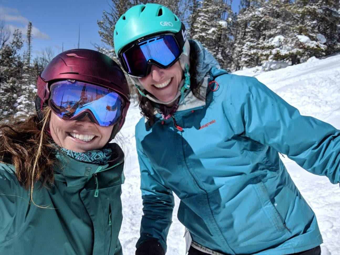 GYC's Wildlife Program Associate Brooke Shifrin (left) and Montana Conservation Coordinator Darcie Warden shred the slopes at Maverick Mountain. (Photo GYC.)