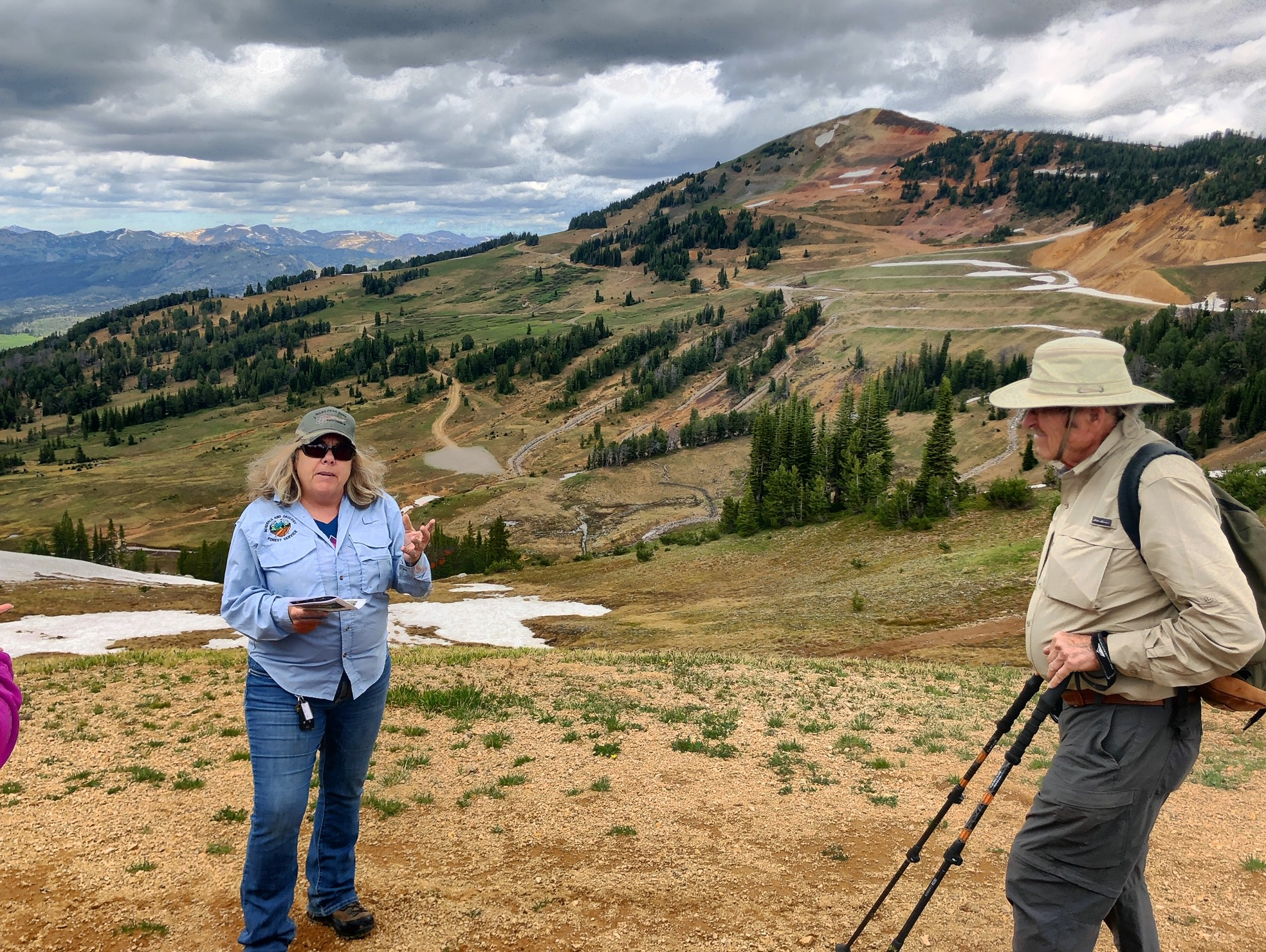 Forest Service employee Mary Beth Marks speaks at the former McLaren mining site on the July 18th tour. (Photo GYC/Joe Josephson.)