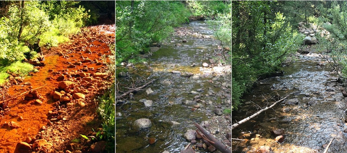 Soda Butte Creek downstream of the McLaren tailings impoundment in 2008 shows contamination by orange-colored iron (left) that is not evident in 2013 and 2018 (center and right, respectively) following the cleanup. (Photo National Park Service.)