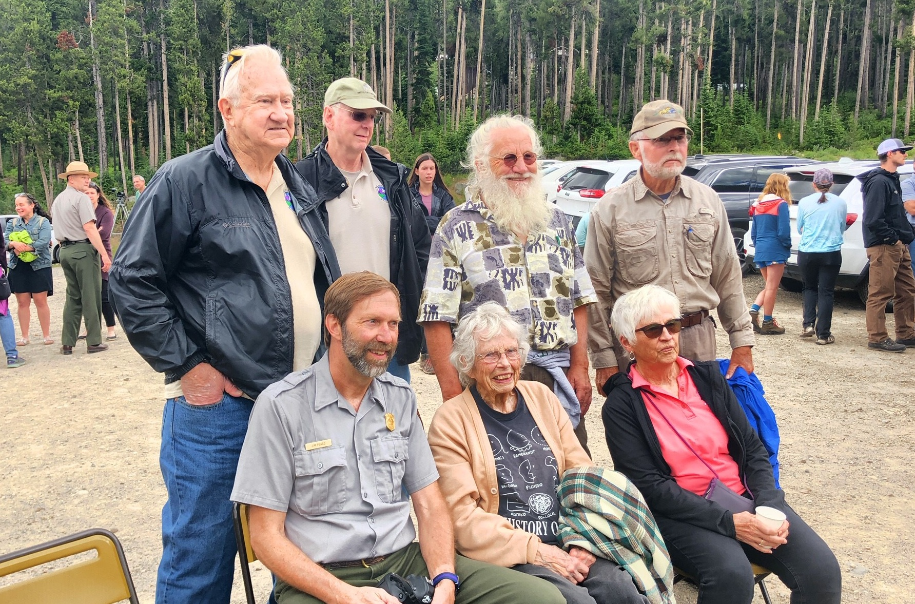 Beartooth Alliance members following the July 18, 2019 celebration of delisting Soda Butte Creek from the Montana list of Impaired Waters. Front Row (left to right): Jim Peaco, Nellie Israel, Carole Oldemeyer. Back Row (left to right): Dean Bladow, Tom Bird, Rich Clawson, Mike Whittington. (Photo GYC/Joe Josephson.)