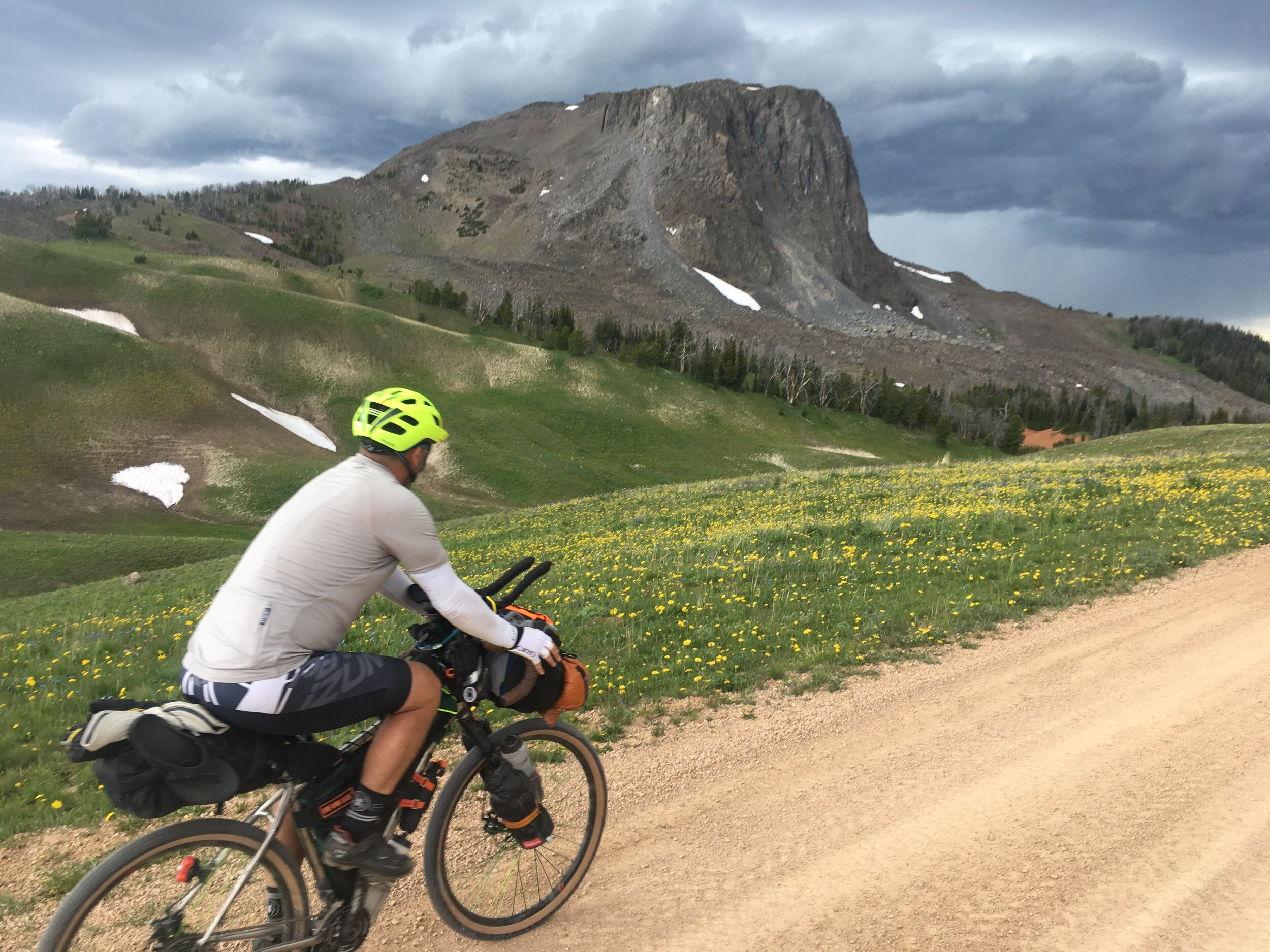 Riding past Black Butte peak high in the Gravelly mountain range in southwest Montana