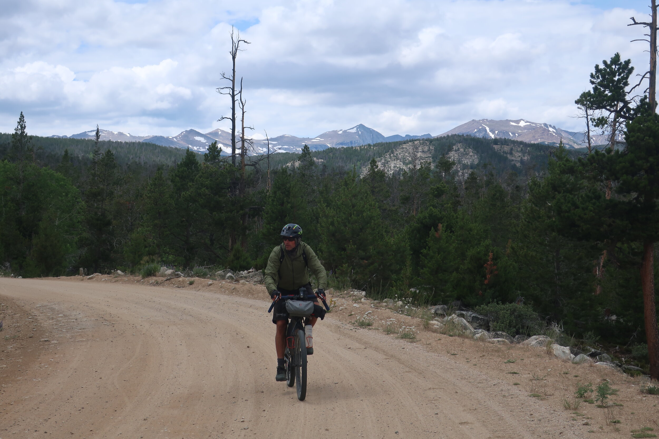 High gravel route with view of the Popo Agie Wilderness in the Wind River Range