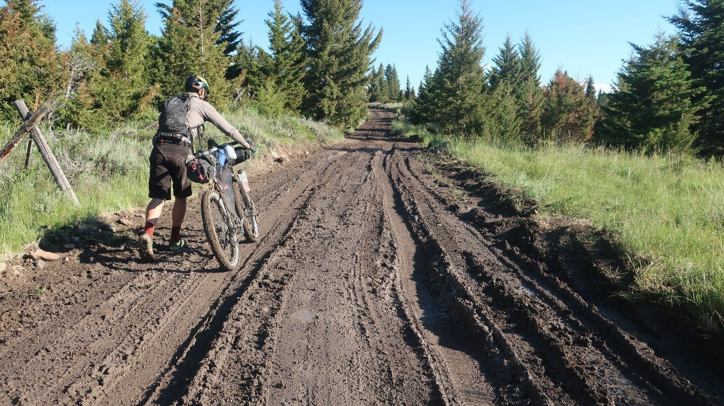 Enduring some muddy conditions and slow travel approaching Virginia City, Montana