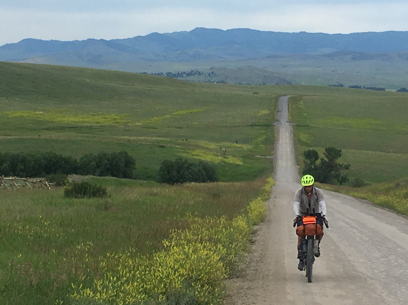 Riding through farm country on the north end of the GYE