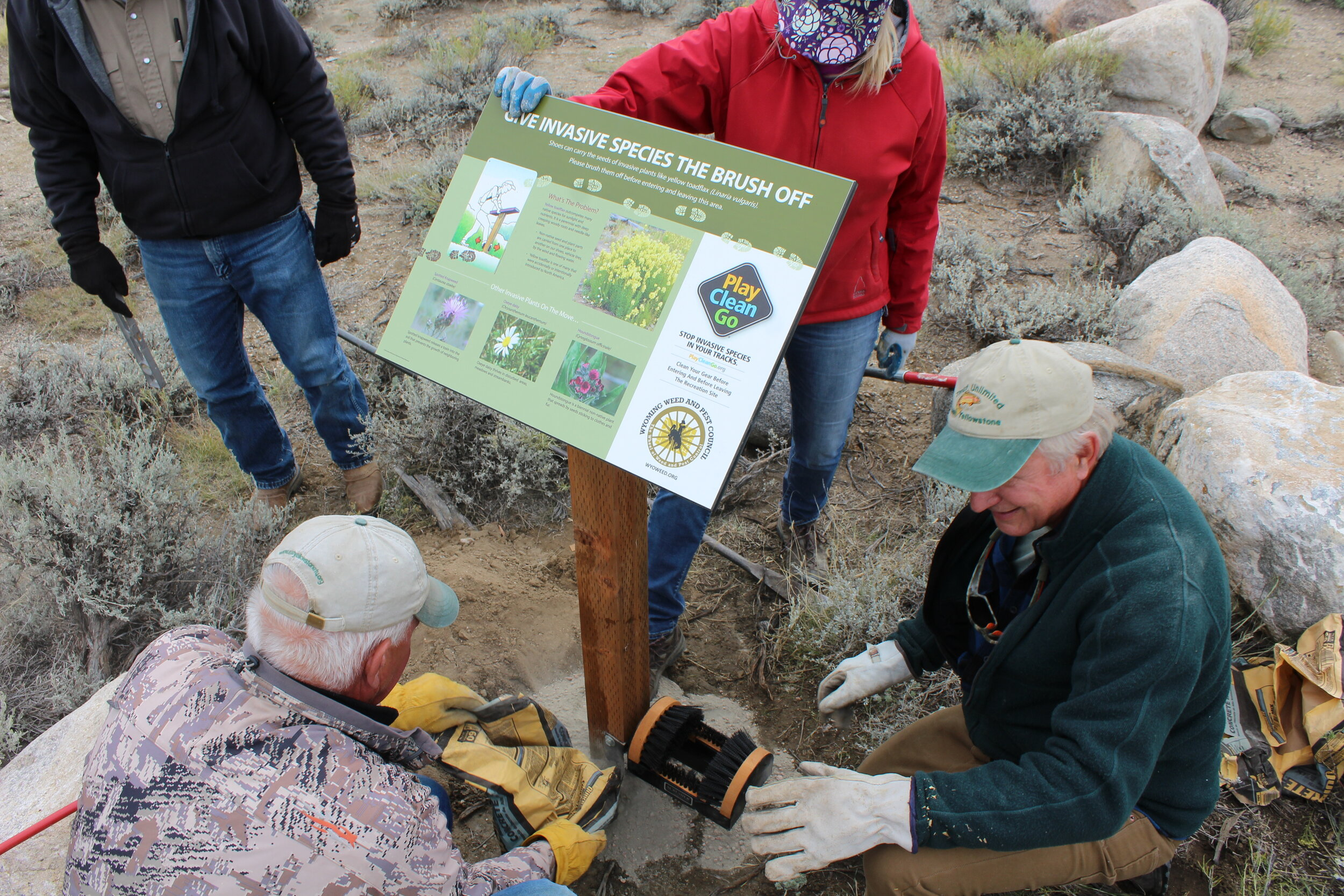 Volunteers put the finishing touches on an invasive plant information sign and boot brush. (Photo GYC/Emily Reed.)