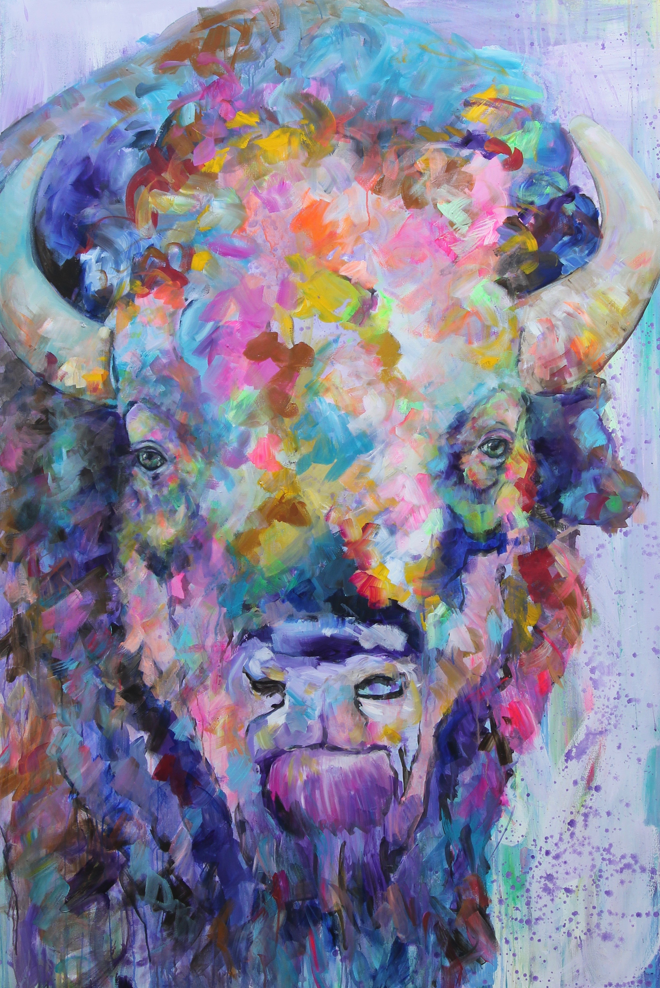 "Bison Dreams; Acrylic on canvas; 48""x70"""