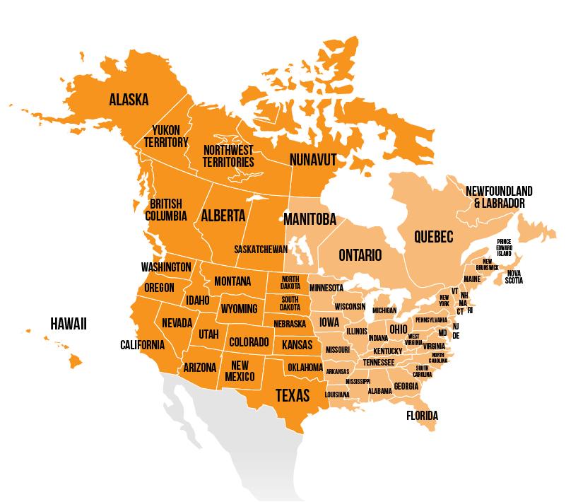 Texas, Oklahoma, Kansas, Nebraska, South Dakota, North Dakota, New Mexico, Colorado, Wyoming, Montana, Arizona, Utah, Idaho, Nevada, California, Oregon, Washington, Alaska, Hawaii and Canadian Provinces British Columbia, Alberta, Nunavut, Northern Territory, Yukon Territory, and Saskatchewan.