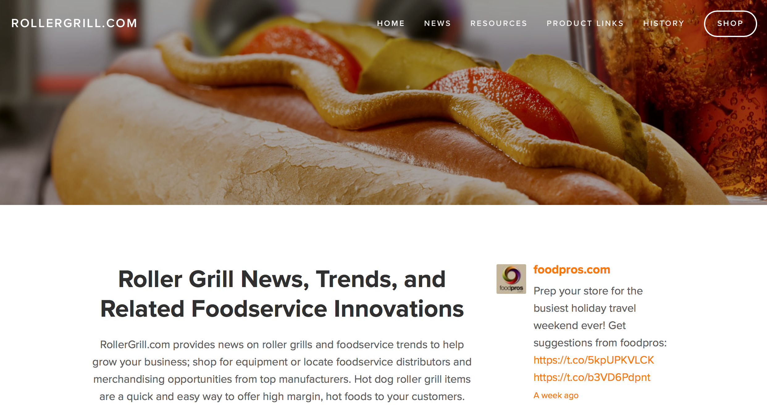 RollerGrill.com landing page