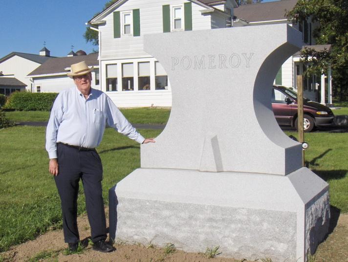 Bill Pomeroy at Anvil Trail Monument, Pompey Historical Society, Pompey NY