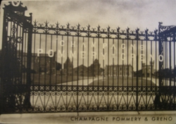 Postcard, g  ates to Champagne Pommery estate