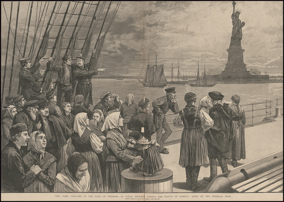 Welcome to the Land of Freedom - an ocean steamer passing the Statue of Liberty: scene on the steerage deck of the Germanic.  Illustrated in Leslie's newspaper, 2 July 1887. Library of Congress Prints and Photographs Division.