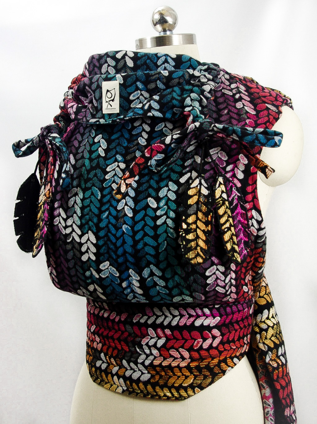 ObiMama Wrap Conversion Mei Tai Woven Wings' Winter Rainbow Stockinette