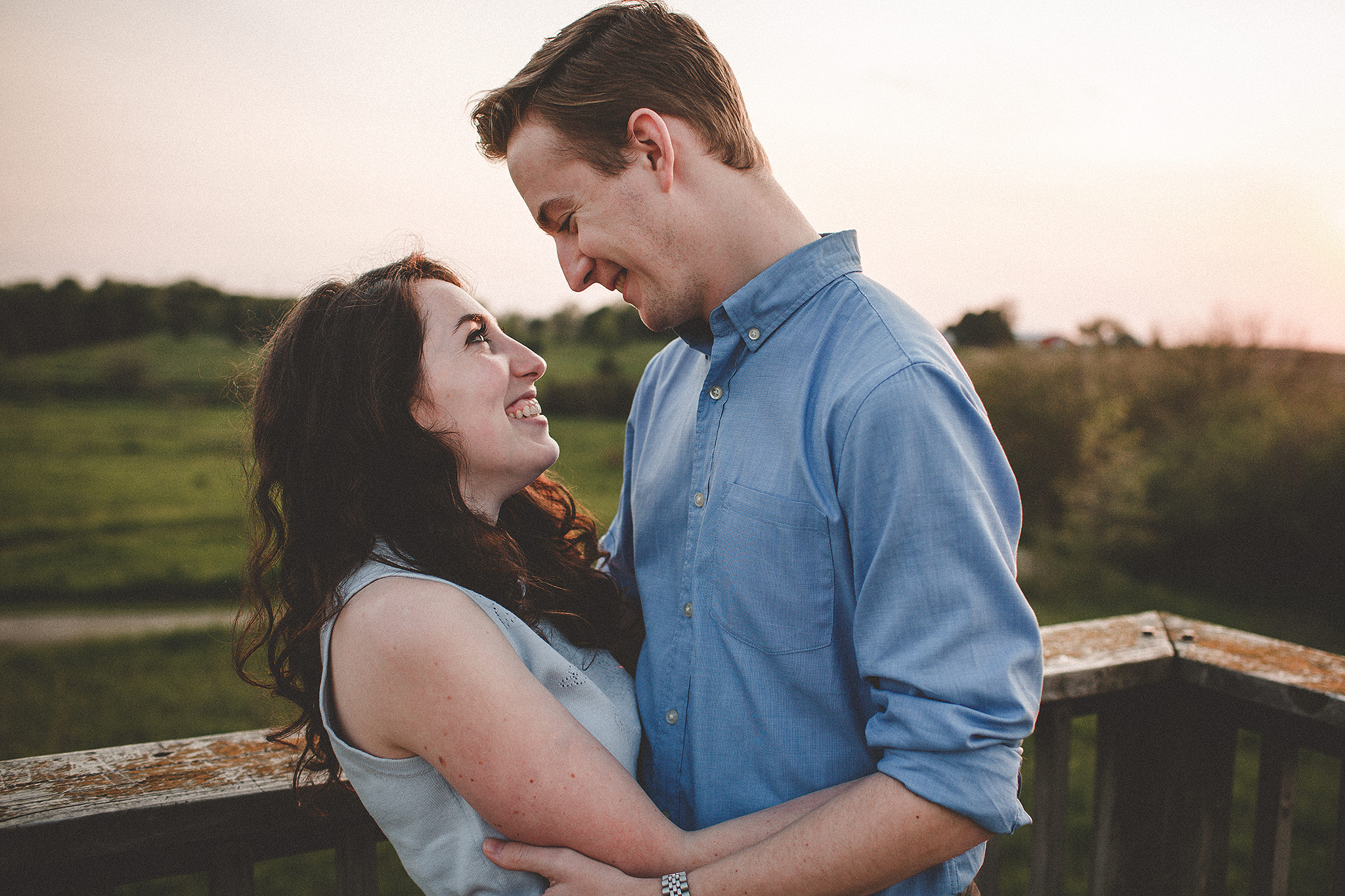 Outdoor forest preserve sunset engagement photos | DeKalb, IL Wedding Photographer | Chrissy Deming Photography