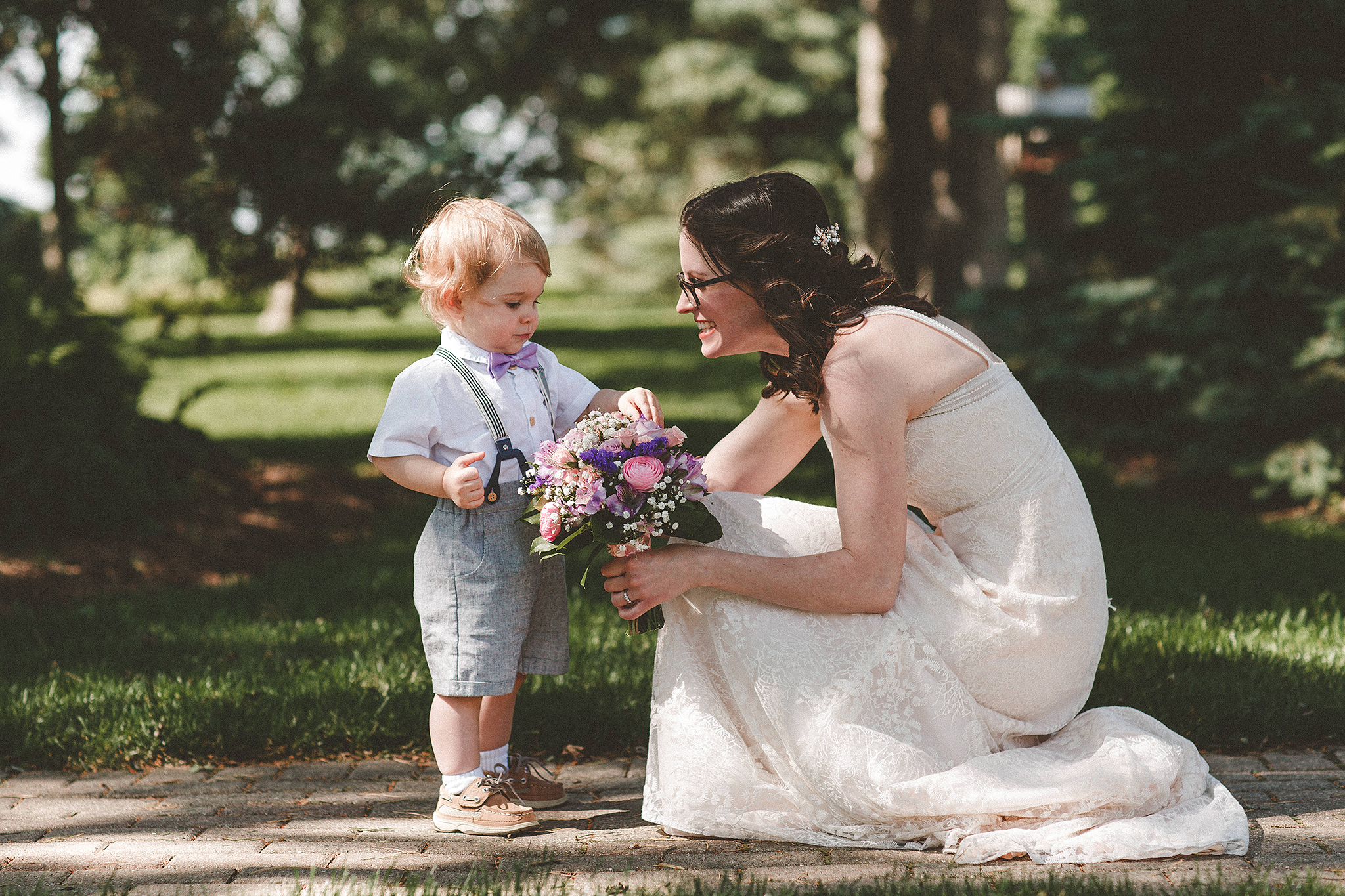 Outdoor elopement ring bearer photos at Chapel in the Pines | Sycamore IL Wedding Photographer | Chrissy Deming Photography