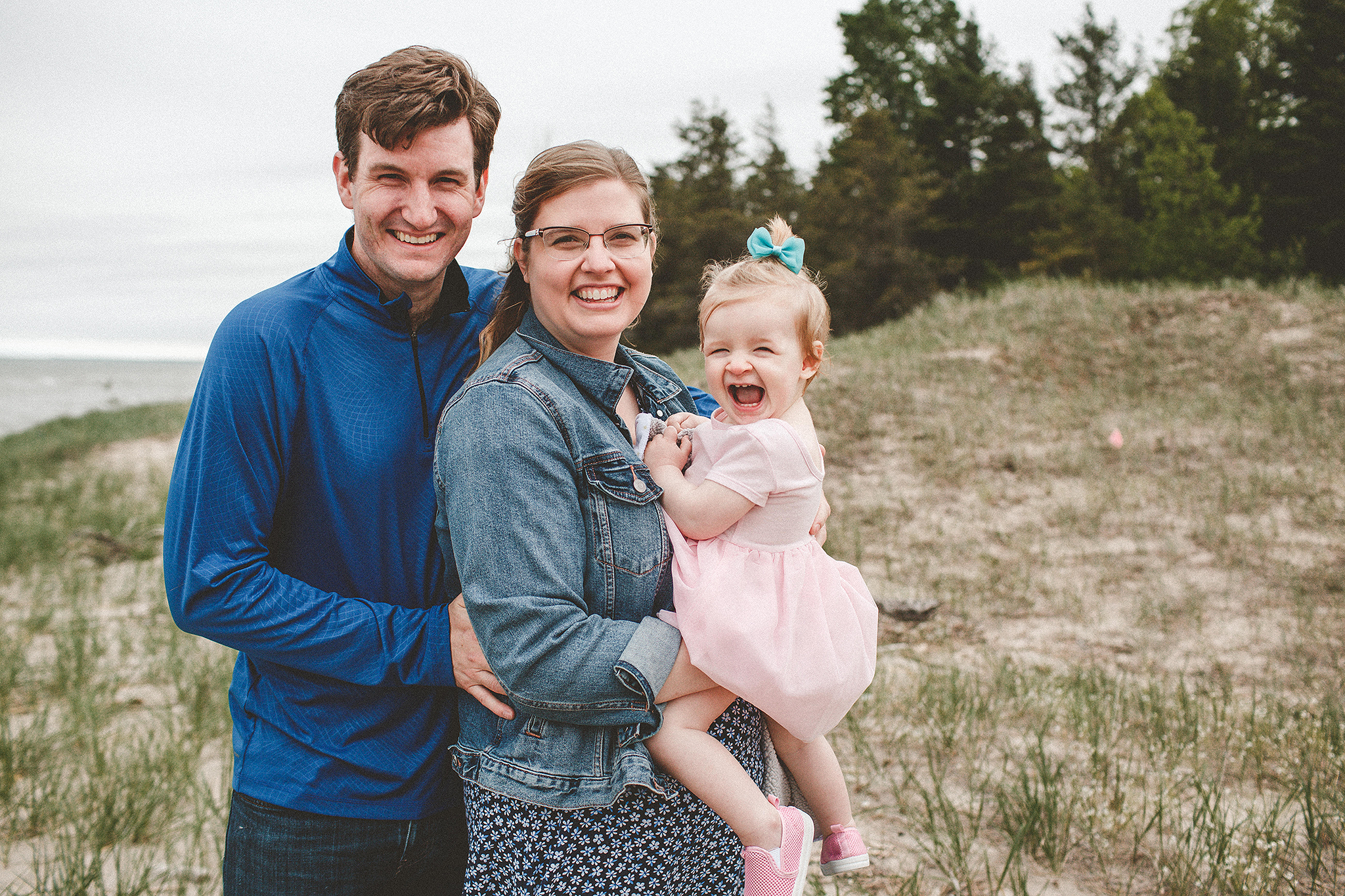 Family photograph of mom, dad, baby on the beach | Sheboygan, WI Family photographer | Chrissy Deming photography
