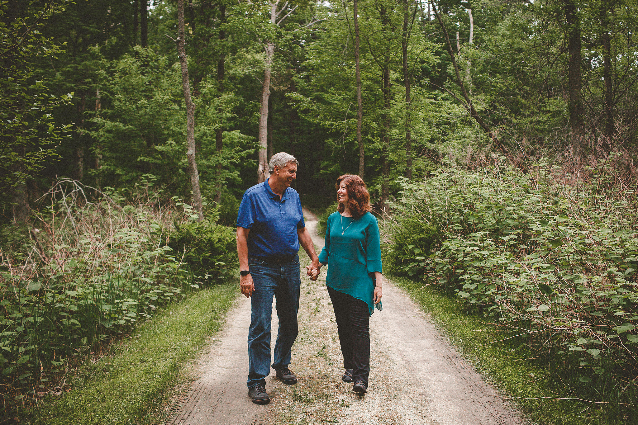 Mature couple walking in the forest | Sheboygan, WI photographer | Chrissy Deming photography