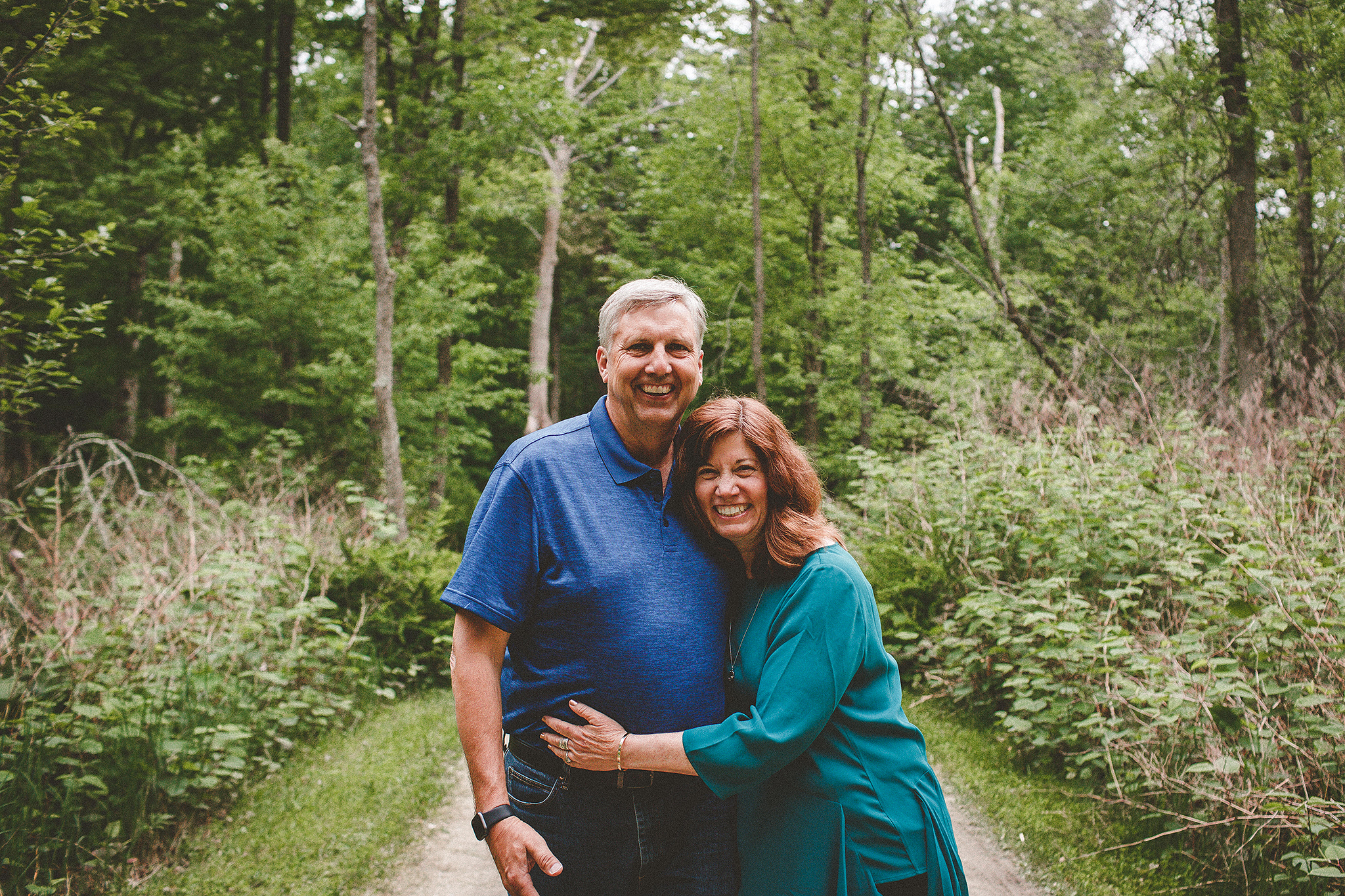 Mature couple embracing in the forest | Sheboygan, WI photographer | Chrissy Deming photography