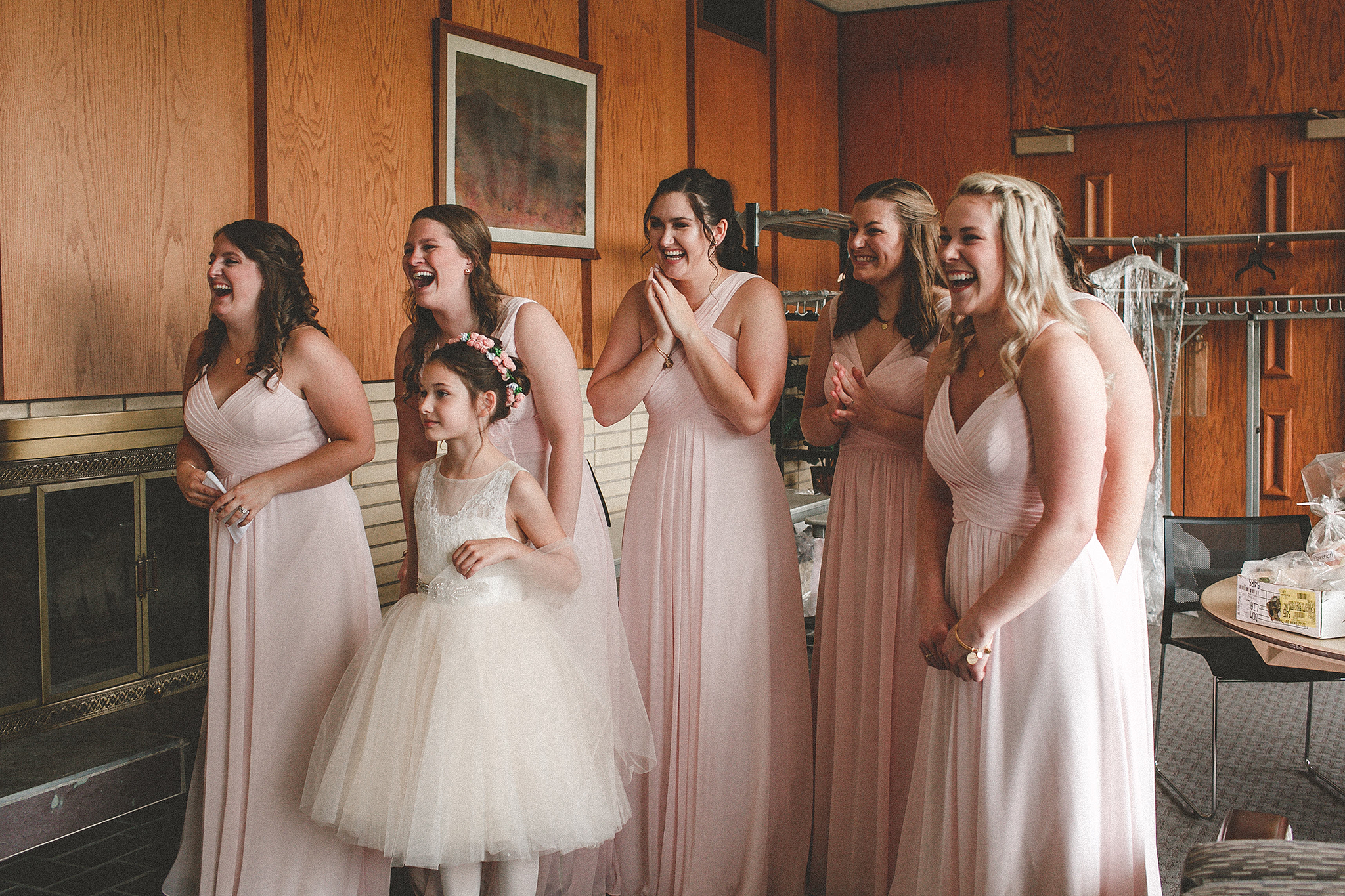 first look with bridesmaids | dekalb, Il wedding photographer