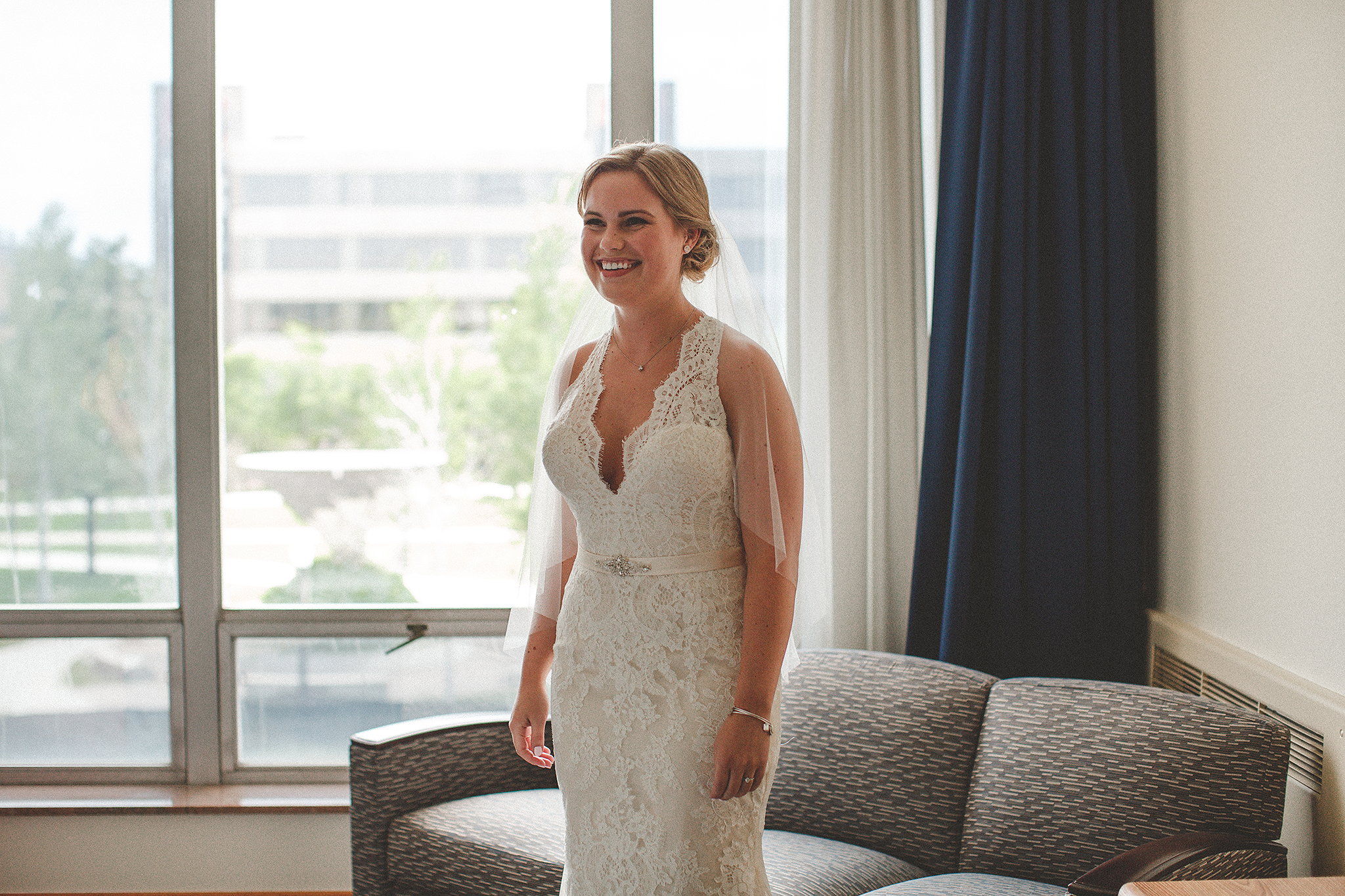 bride's first look with father of the bride | dekalb, IL wedding photographer