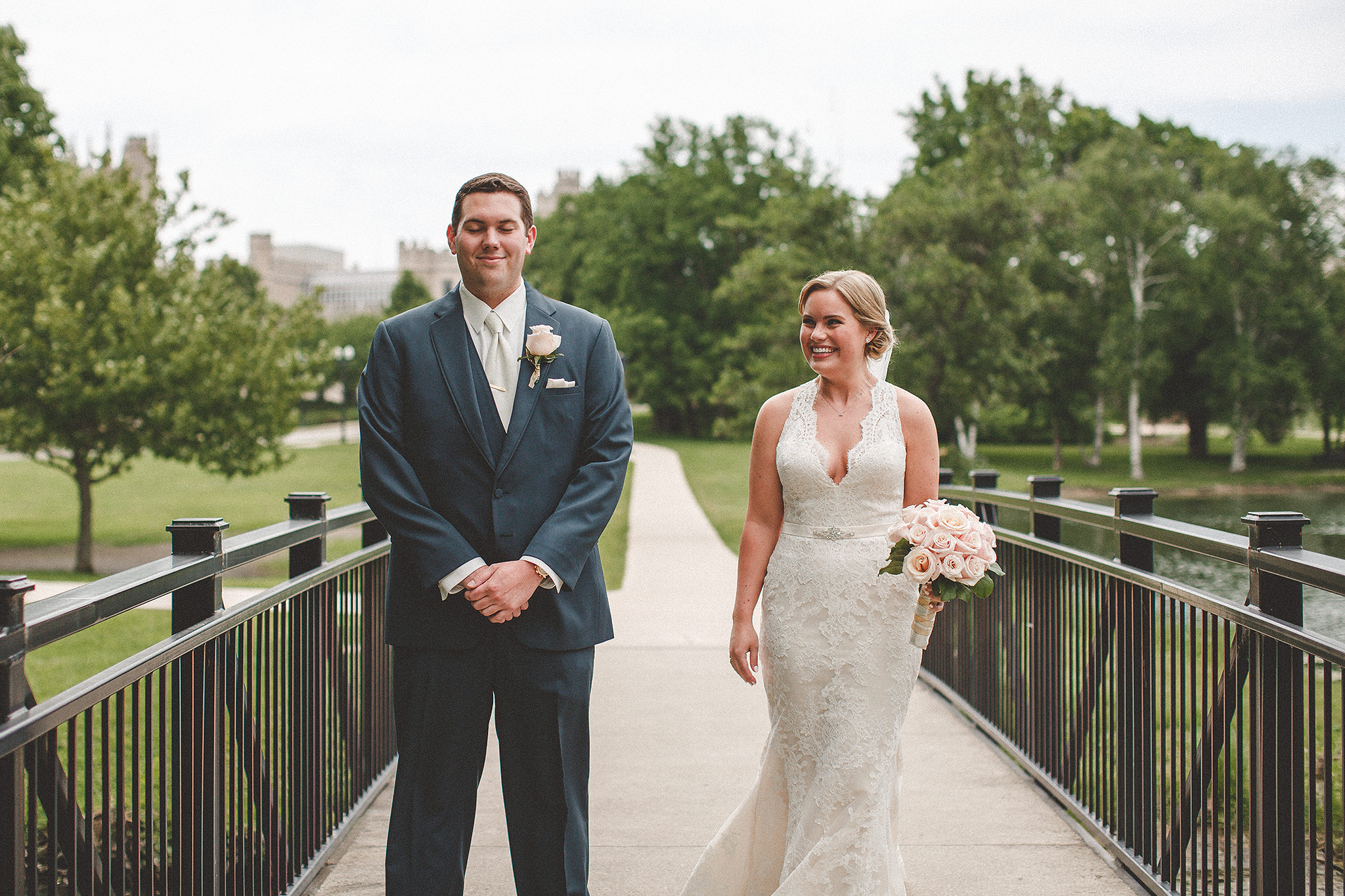 bride and groom's first look | dekalb, Il wedding photographer | chrissy deming